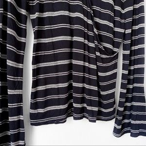 Lucky Brand Tops - Lucky Brand | Striped Faux Wrap Long Sleeve Top L